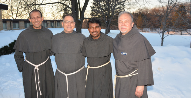 Friars John Pozhathuparambil, Rick Riccioli, Tony Vattaparambil, and Bob Roddy (Friars John and Tony are from St. Maximilian Kolbe Province in India but are currently working in the US at Bellarmine University in Louisville, KY, and on a project focusing on young adult faith formation - the Kentucky-Kerala project.)