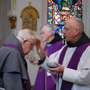 Fr. Maurus Hauer receives ashes from Fr. Charles McCarthy (Ash Wednesday 2014.)