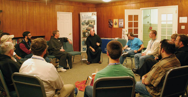 Fr. Jim Kent shared his journey of discernment with the retreatants