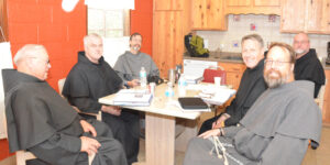 Friars Fred Pasche, Bob Baxter, Paul Clark, Joe West, Randy Kin, and John Bamman - one of the four working groups that are tasked with revising our province strategic plan. (Br. Bob is part of this group but he is the photographer.)
