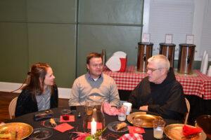 Br. Bob Baxter enjoyed talking with friends.