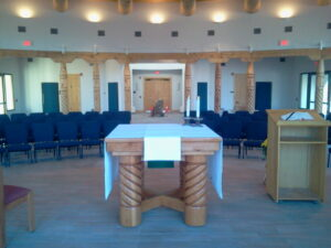 A view of the interior of the Chapel. The first five Stations of the Cross will be installed this week.