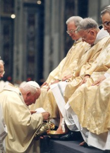 During Mass on Holy Thursday 2000, Fr. Simon had his feet washed by Pope St. John Paul II.