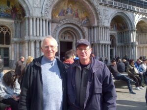 Frs. Wayne Hellmann and Jim Kent outside St. Mark's in Venice.