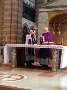 Fr. Jim concelebrates the Sunday Mass at Church of St Anthony in Arcella.