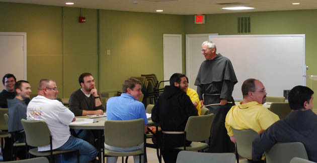 Fr. Wayne in his element, teaching student Friars visiting Mount St. Francis in southern Indiana.