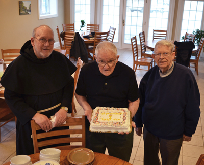 l to r: Fr. David Lenz, Fr. Maurus, and Fr. Simon Sauer at Fr. Maurus 97th birthday party