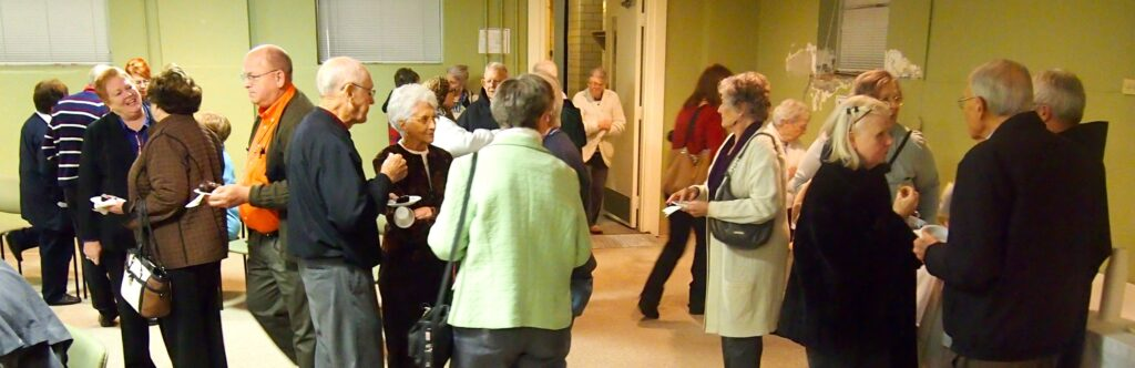 Friars and friends enjoyed a reception following the Transitus Celebration at Mount St. Francis, Indiana.