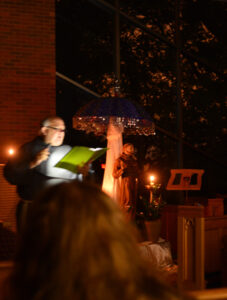 During the Transitus celebration at Bellarmine University in Louisville, Br. Nicholas Wolfla reads Br. Elias' letter to the Brothers on the death of St. Francis.