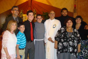 Friar Jacob and Jaime with their families following the profession of their first vows.