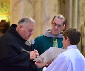 Br. Angelo Catania, OFM Conv. renews his vows with Fr. Mark Weaver, OFM Conv. (Vicar Provincial)