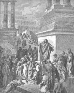Jonah preaching to the Ninevites, wood engraving by Gustave Doré (1832-1883)