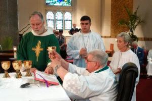 Fr. Joel celebrating Mass at his Jubilee celebration in 2016.