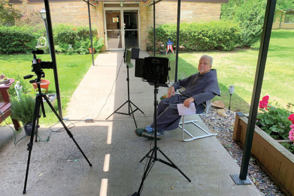 Br. Bob Roddy prepares to record a video.    During this time friars and retreat center support staff are finding new ways to connect with the people who seek spiritual renewal and growth.
